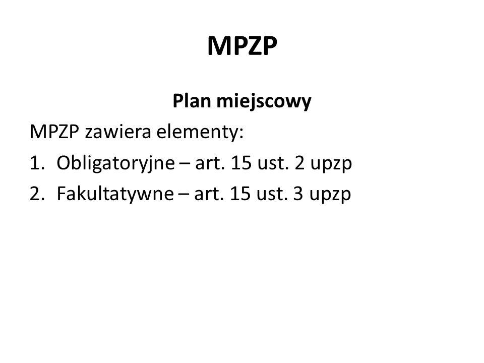 MPZP Plan miejscowy MPZP zawiera elementy: