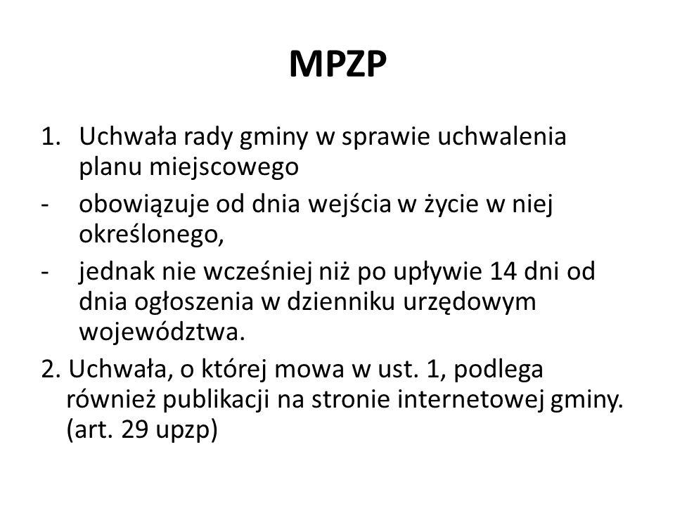 MPZP Uchwała rady gminy w sprawie uchwalenia planu miejscowego