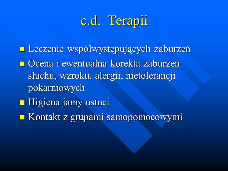 c.d. Terapii Leczenie współwystępujących zaburzeń