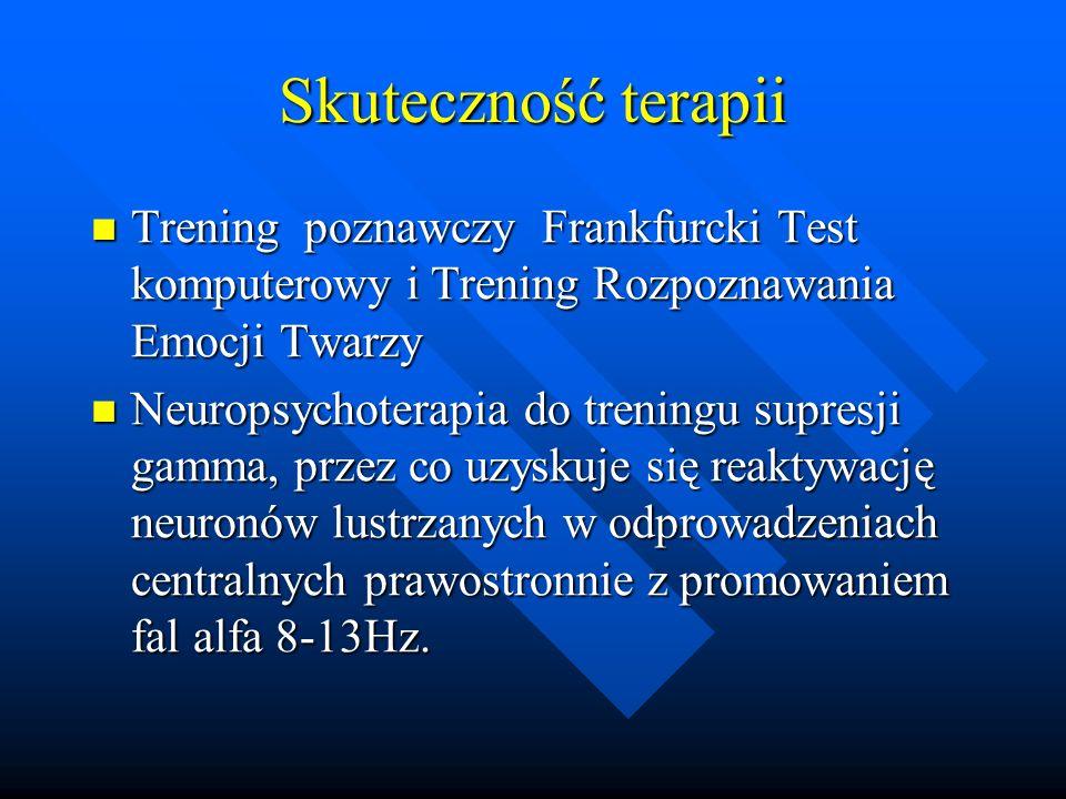 Skuteczność terapii Trening poznawczy Frankfurcki Test komputerowy i Trening Rozpoznawania Emocji Twarzy.