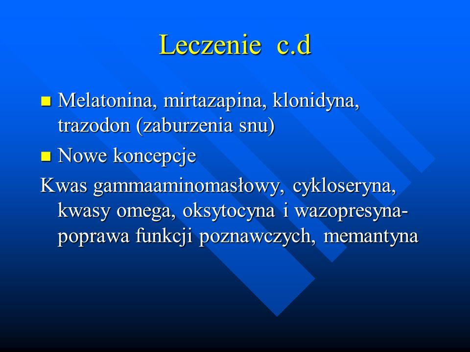 Leczenie c.d Melatonina, mirtazapina, klonidyna, trazodon (zaburzenia snu) Nowe koncepcje.