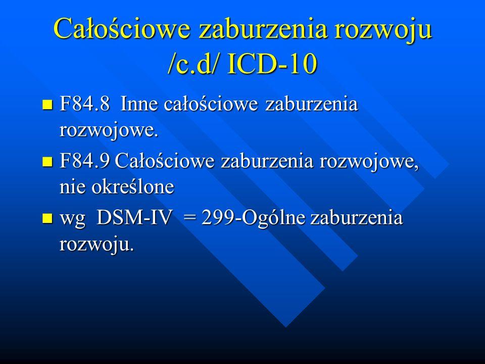 Całościowe zaburzenia rozwoju /c.d/ ICD-10