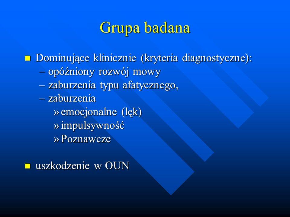 Grupa badana Dominujące klinicznie (kryteria diagnostyczne):