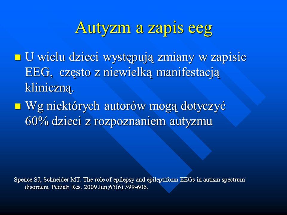 Autyzm a zapis eeg U wielu dzieci występują zmiany w zapisie EEG, często z niewielką manifestacją kliniczną.