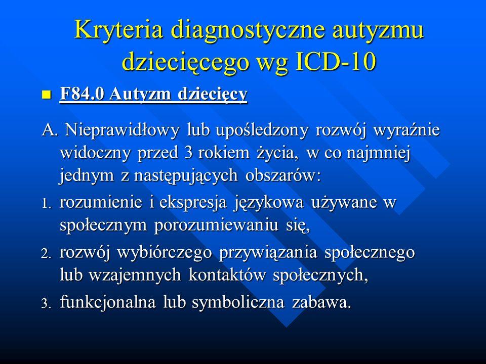 Kryteria diagnostyczne autyzmu dziecięcego wg ICD-10