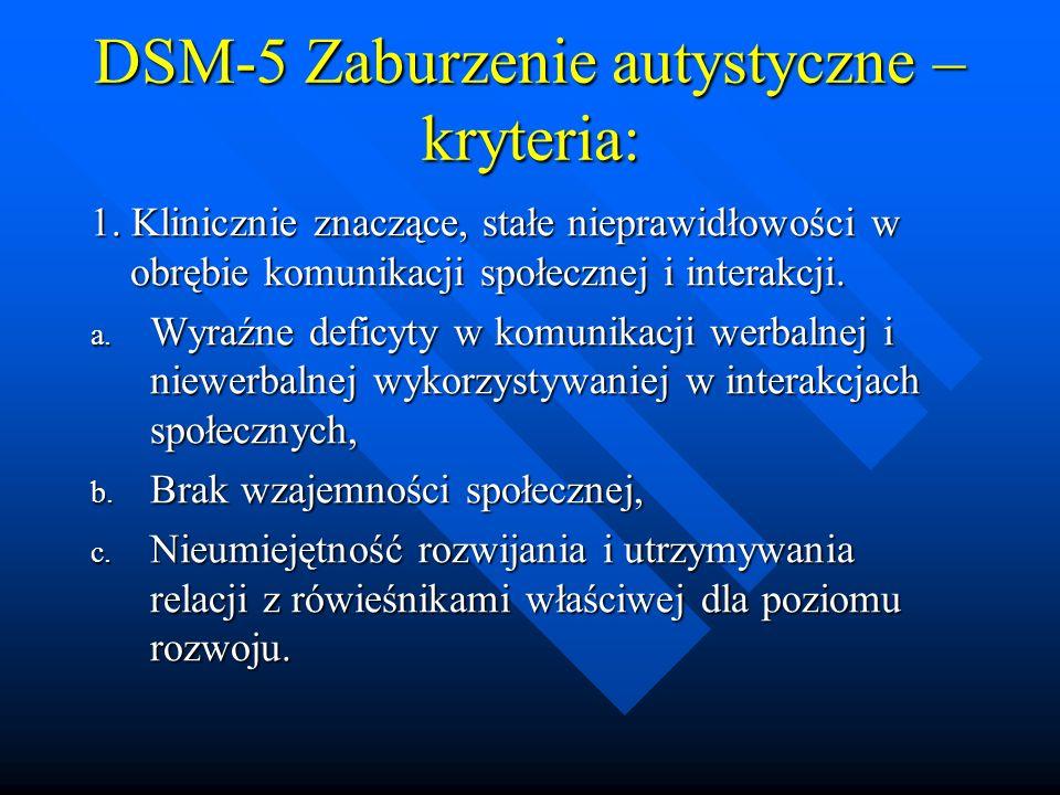 DSM-5 Zaburzenie autystyczne – kryteria: