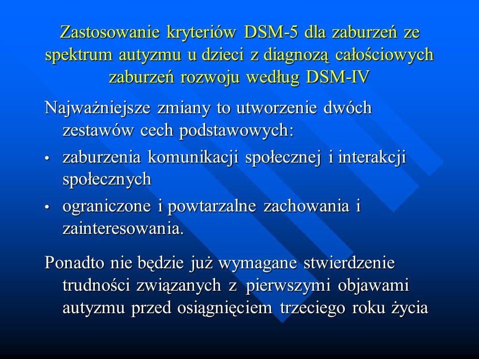 Zastosowanie kryteriów DSM-5 dla zaburzeń ze spektrum autyzmu u dzieci z diagnozą całościowych zaburzeń rozwoju według DSM-IV
