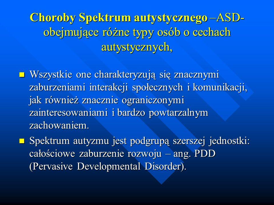 Choroby Spektrum autystycznego –ASD-obejmujące różne typy osób o cechach autystycznych,