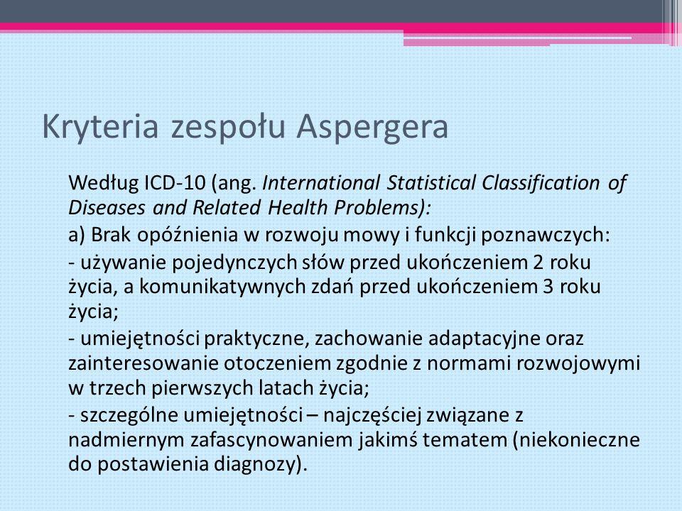 Kryteria zespołu Aspergera