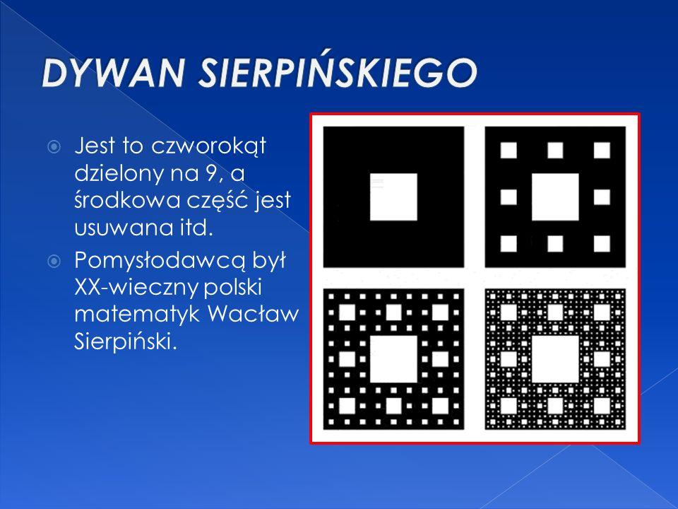 DYWAN SIERPIŃSKIEGO Jest to czworokąt dzielony na 9, a środkowa część jest usuwana itd.