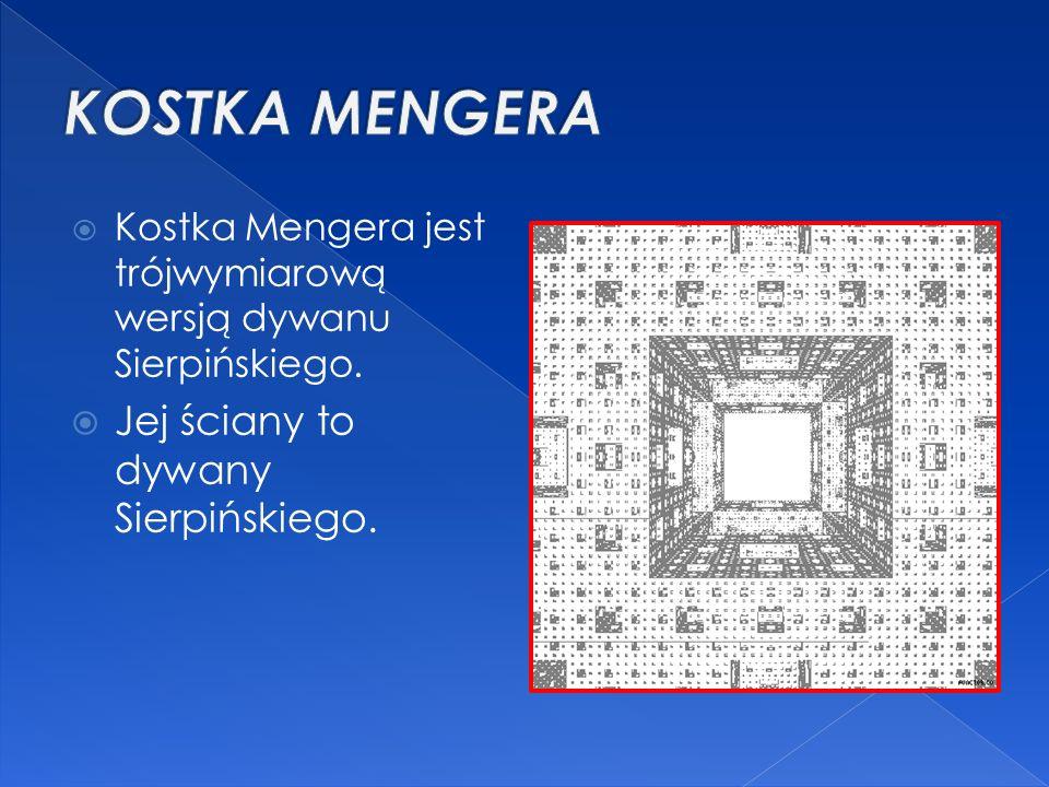 KOSTKA MENGERA Jej ściany to dywany Sierpińskiego.