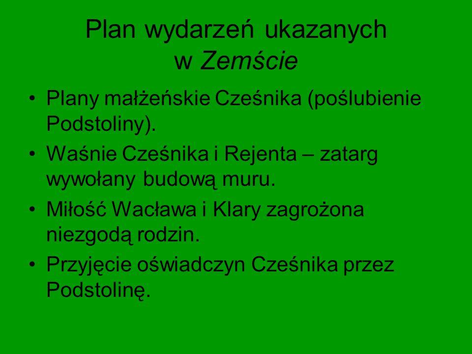 Plan wydarzeń ukazanych w Zemście