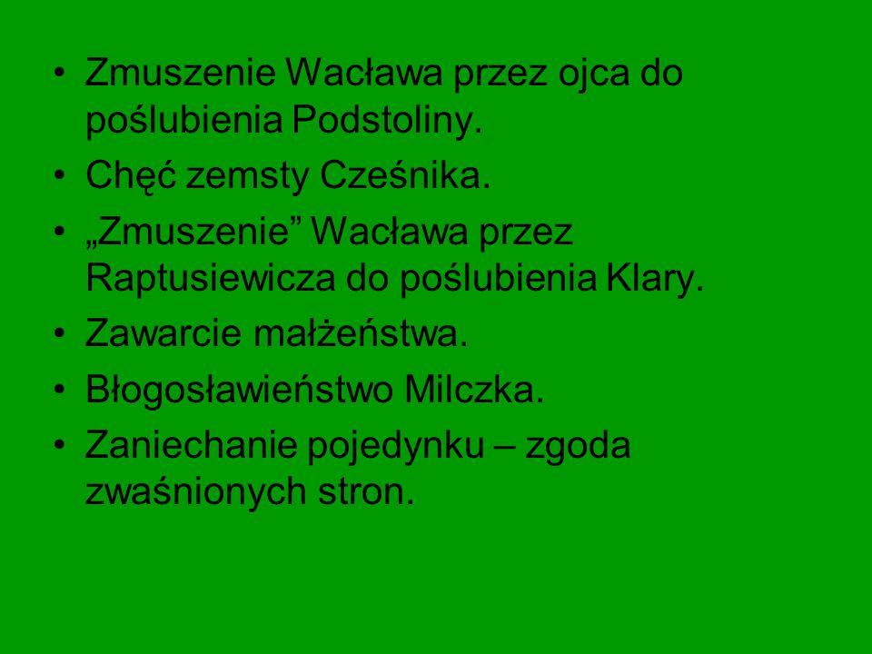 Zmuszenie Wacława przez ojca do poślubienia Podstoliny.