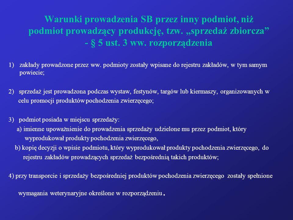 """Warunki prowadzenia SB przez inny podmiot, niż podmiot prowadzący produkcję, tzw. """"sprzedaż zbiorcza - § 5 ust. 3 ww. rozporządzenia"""