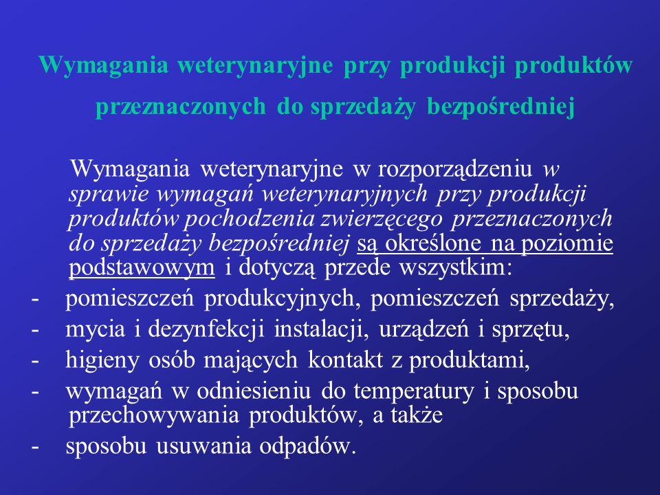 Wymagania weterynaryjne przy produkcji produktów przeznaczonych do sprzedaży bezpośredniej