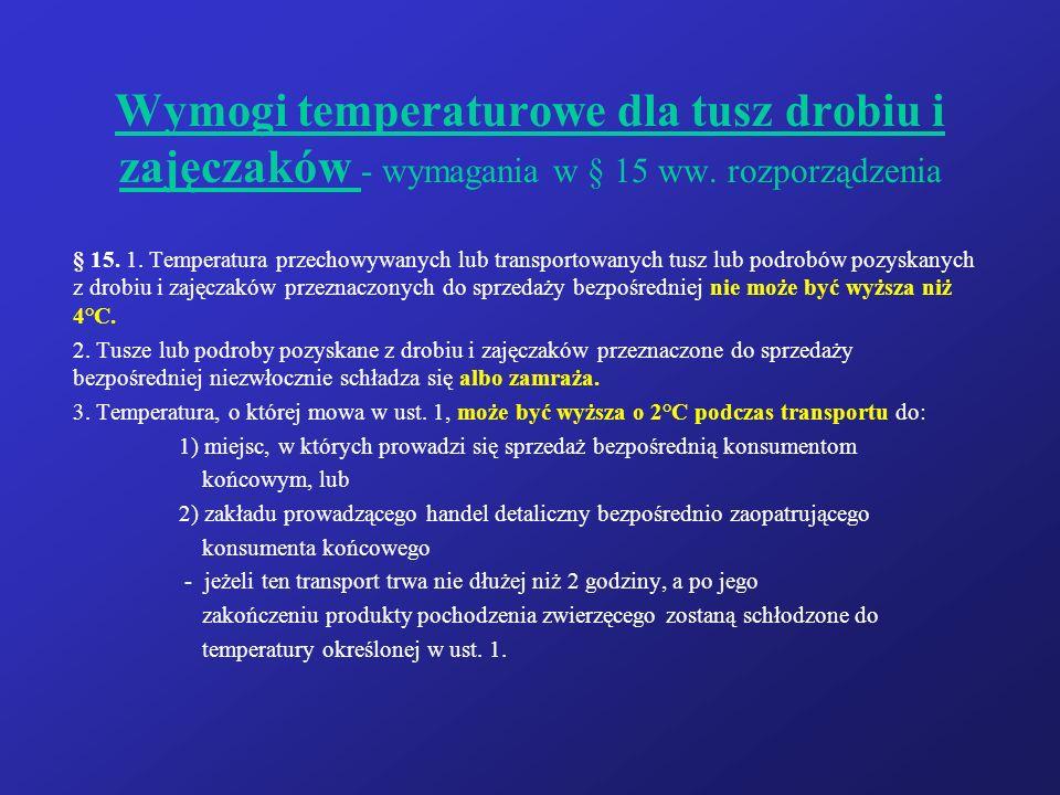 Wymogi temperaturowe dla tusz drobiu i zajęczaków - wymagania w § 15 ww. rozporządzenia