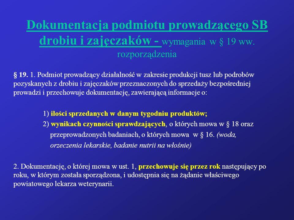 Dokumentacja podmiotu prowadzącego SB drobiu i zajęczaków - wymagania w § 19 ww. rozporządzenia