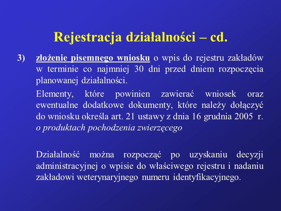 Rejestracja działalności – cd.