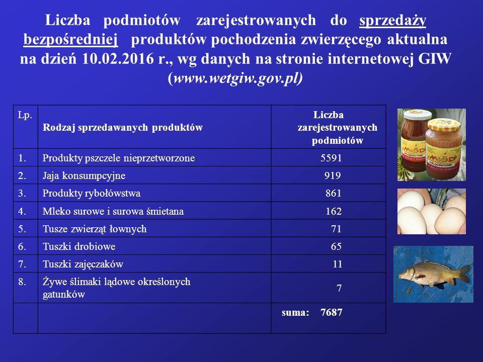 Liczba zarejestrowanych podmiotów