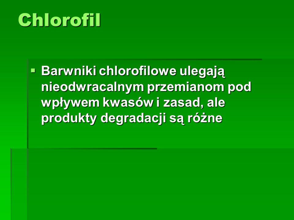 Chlorofil Barwniki chlorofilowe ulegają nieodwracalnym przemianom pod wpływem kwasów i zasad, ale produkty degradacji są różne.