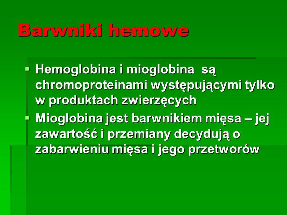 Barwniki hemowe Hemoglobina i mioglobina są chromoproteinami występującymi tylko w produktach zwierzęcych.