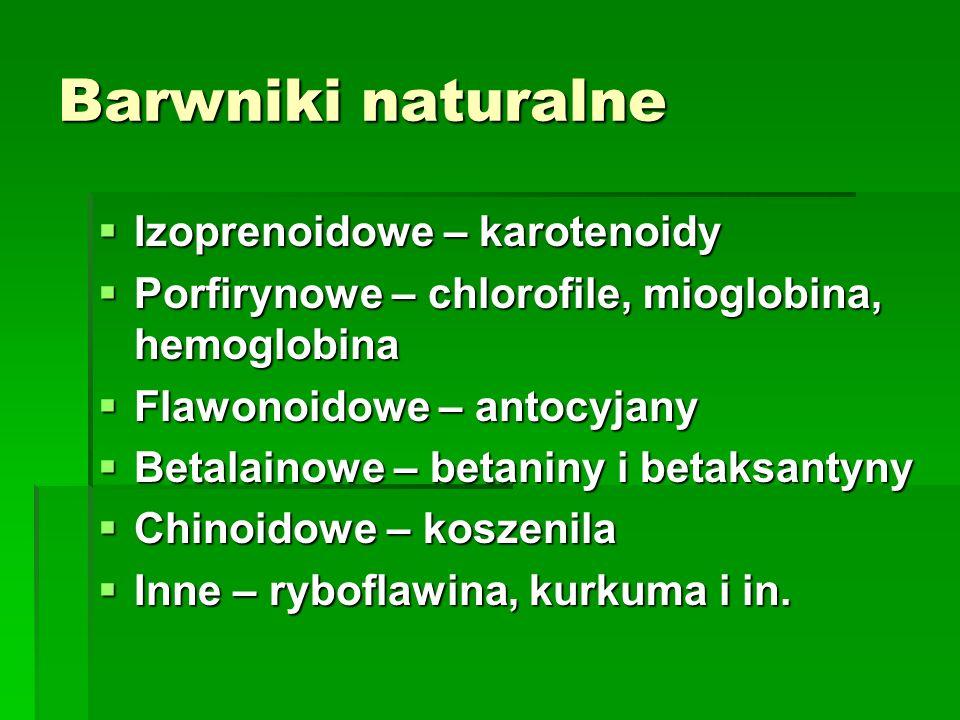 Barwniki naturalne Izoprenoidowe – karotenoidy