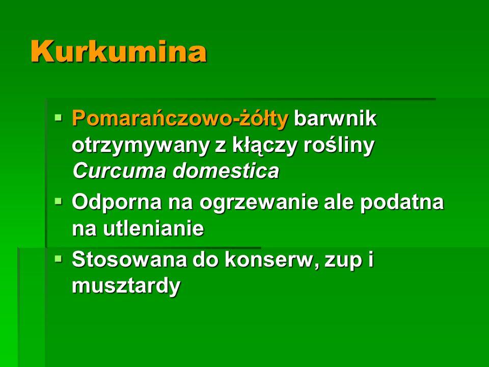 Kurkumina Pomarańczowo-żółty barwnik otrzymywany z kłączy rośliny Curcuma domestica. Odporna na ogrzewanie ale podatna na utlenianie.
