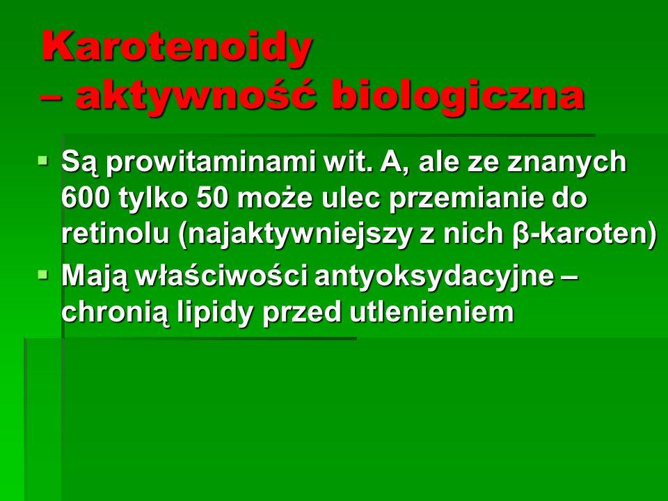Karotenoidy – aktywność biologiczna