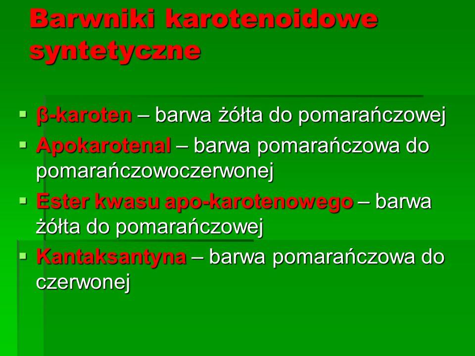 Barwniki karotenoidowe syntetyczne