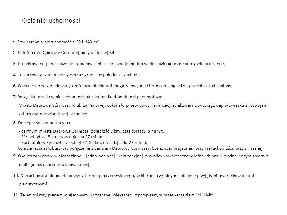 Opis nieruchomości 1. Powierzchnia nieruchomości: 221 340 m2. 2. Położona w Dąbrowie Górniczej, przy ul. Jasnej 54.