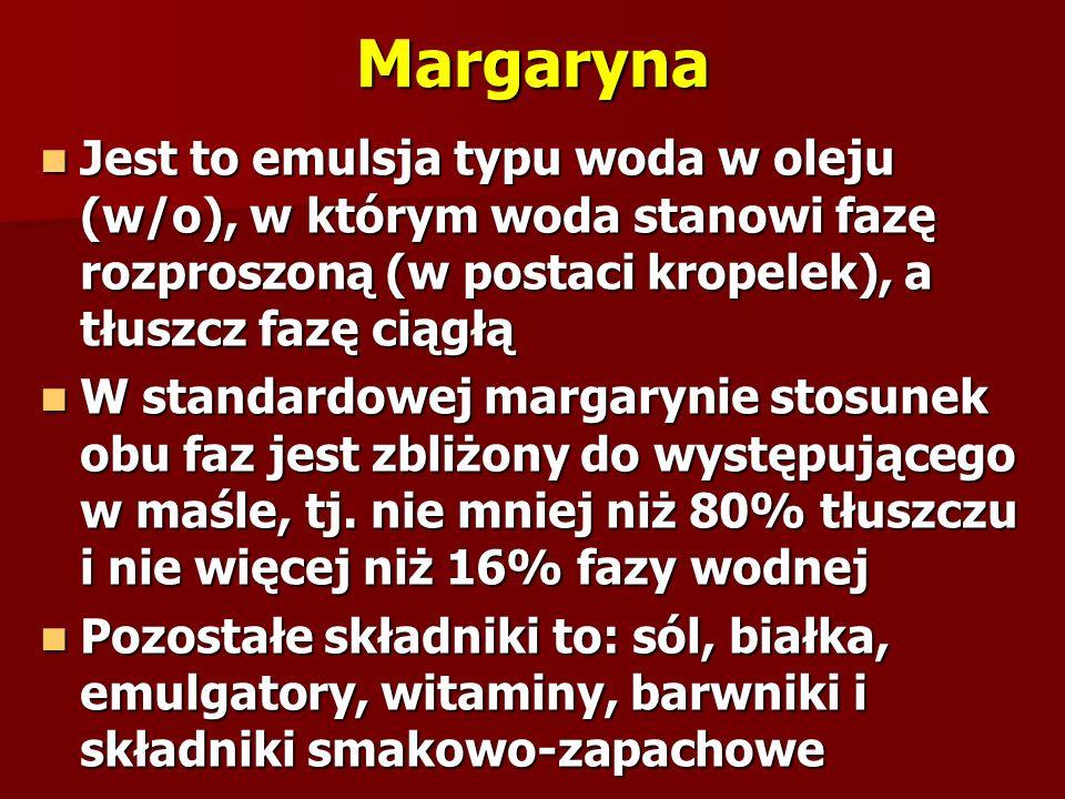 Margaryna Jest to emulsja typu woda w oleju (w/o), w którym woda stanowi fazę rozproszoną (w postaci kropelek), a tłuszcz fazę ciągłą.
