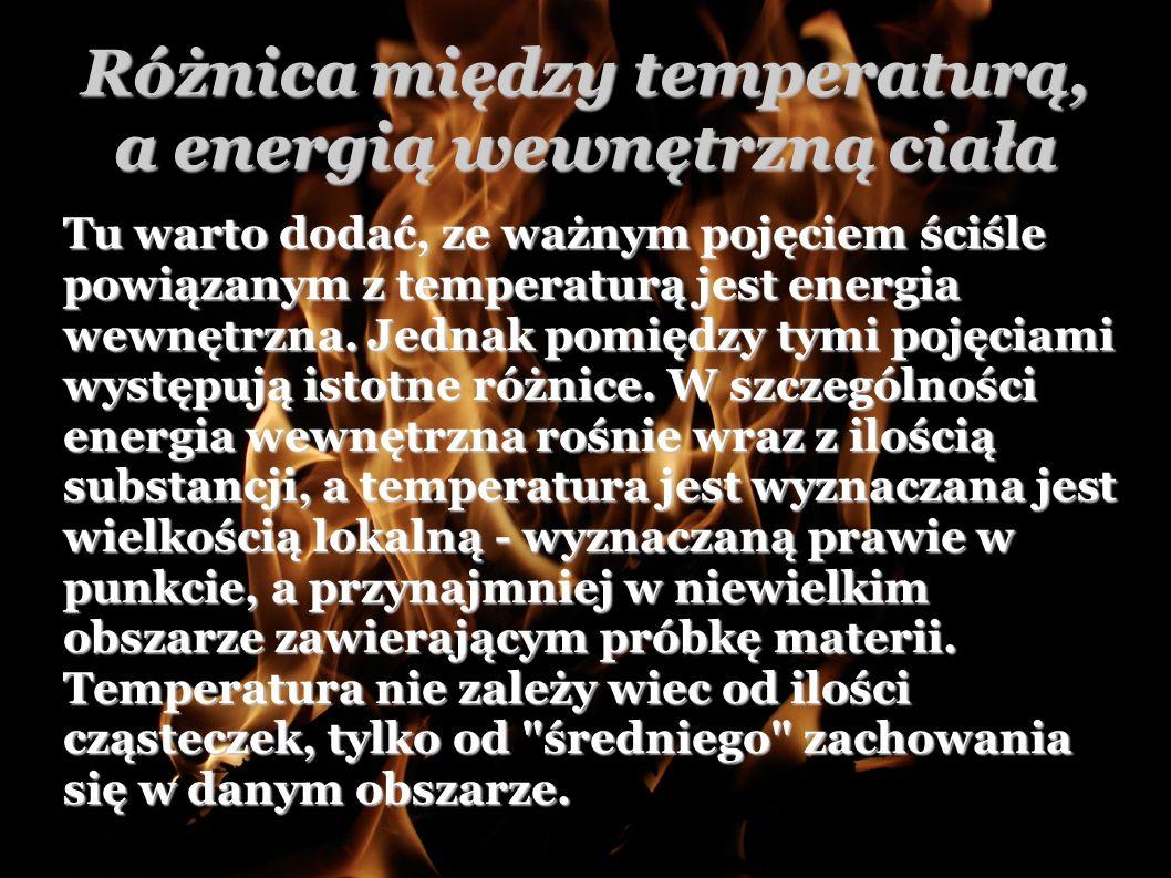 Różnica między temperaturą, a energią wewnętrzną ciała