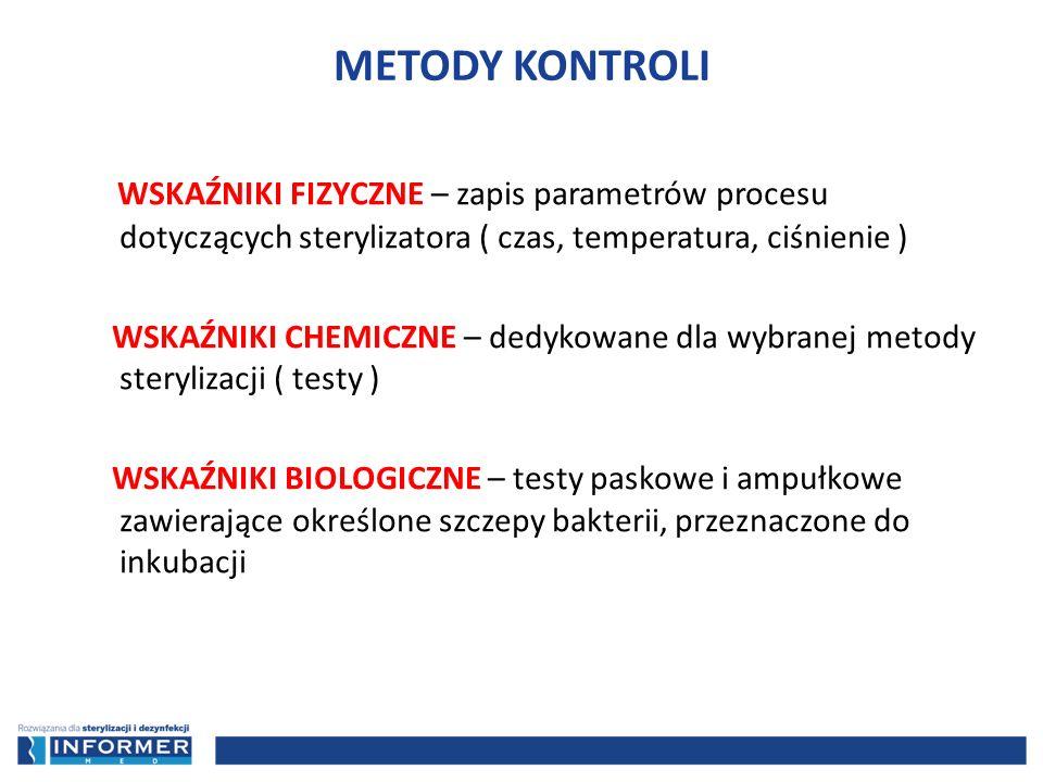 METODY KONTROLI WSKAŹNIKI FIZYCZNE – zapis parametrów procesu dotyczących sterylizatora ( czas, temperatura, ciśnienie )