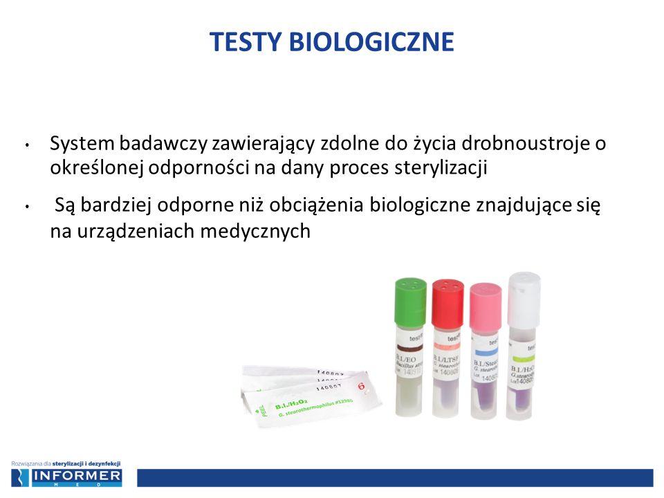 TESTY BIOLOGICZNE System badawczy zawierający zdolne do życia drobnoustroje o określonej odporności na dany proces sterylizacji.