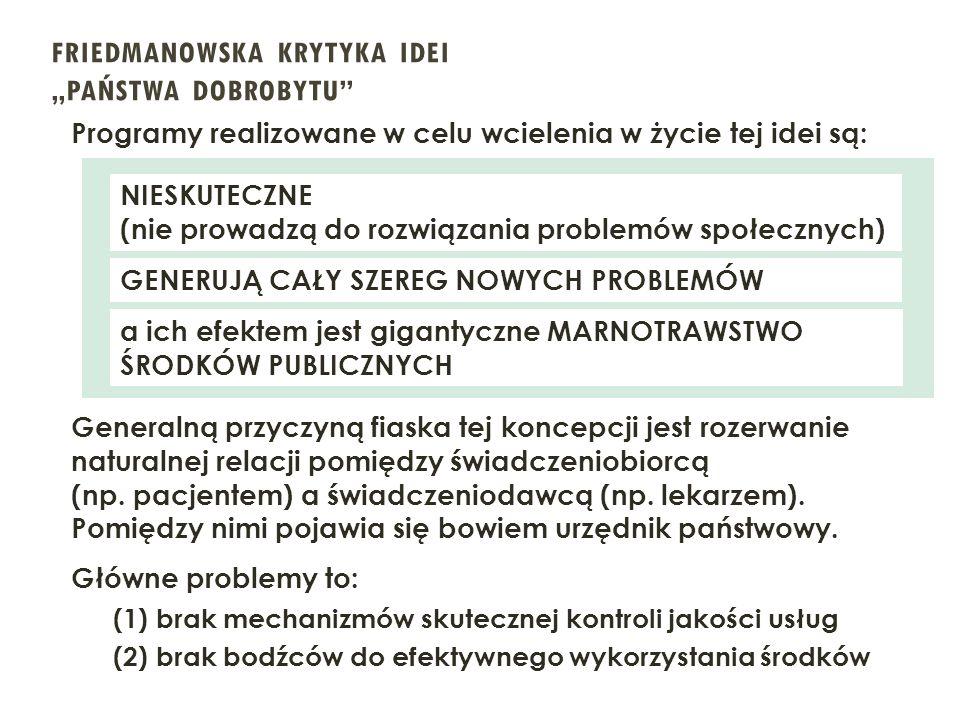 """FRIEDMANOWSKA KRYTYKA IDEI """"PAŃSTWA DOBROBYTU"""