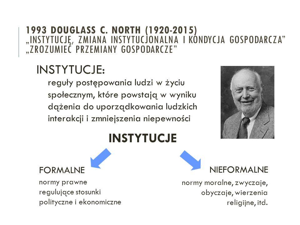 INSTYTUCJE: INSTYTUCJE 1993 Douglass c. North (1920-2015)