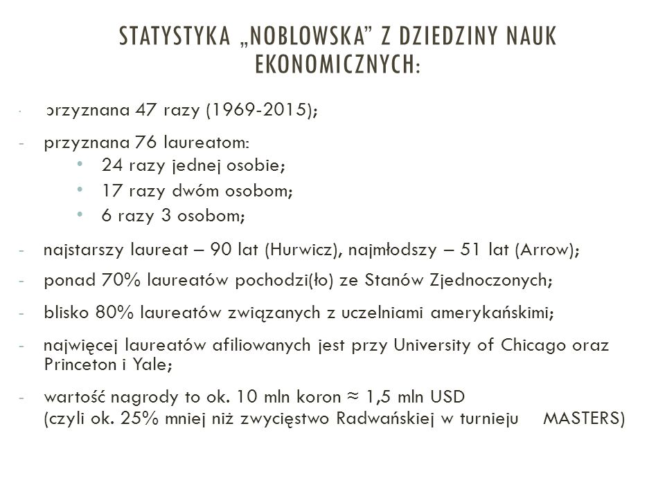 """Statystyka """"noblowska z dziedziny nauk ekonomicznych:"""