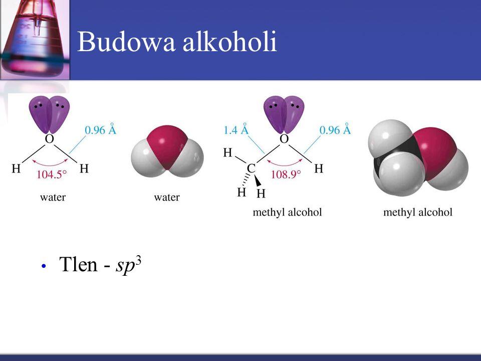 Budowa alkoholi Tlen - sp3