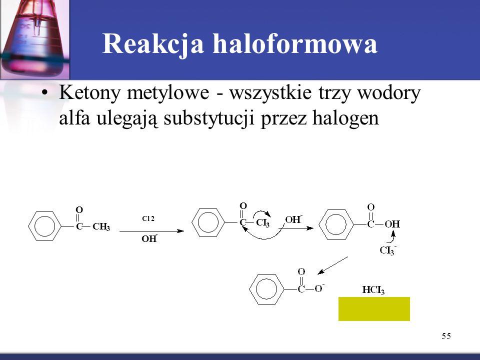 Reakcja haloformowa Ketony metylowe - wszystkie trzy wodory alfa ulegają substytucji przez halogen.
