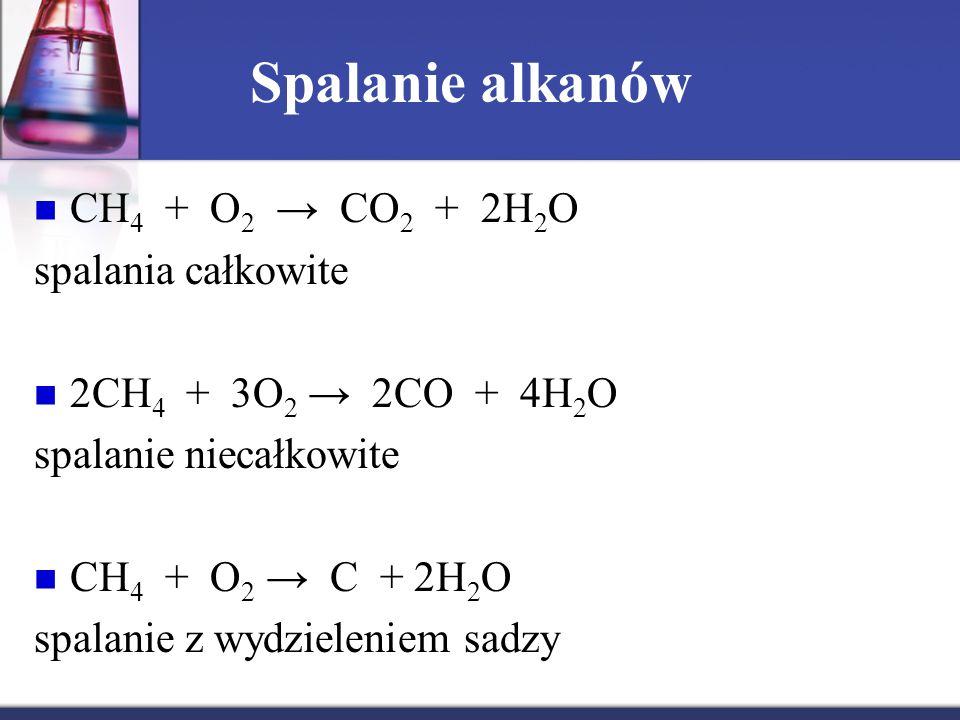 Spalanie alkanów CH4 + O2 → CO2 + 2H2O spalania całkowite