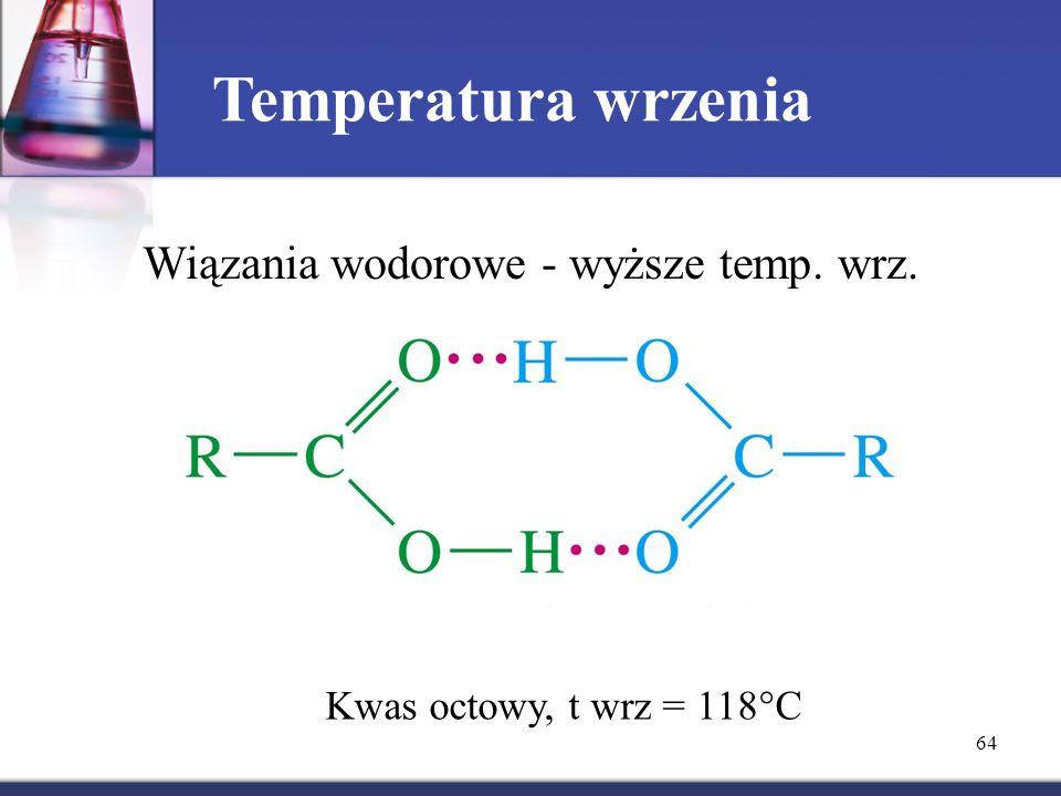 Wiązania wodorowe - wyższe temp. wrz.