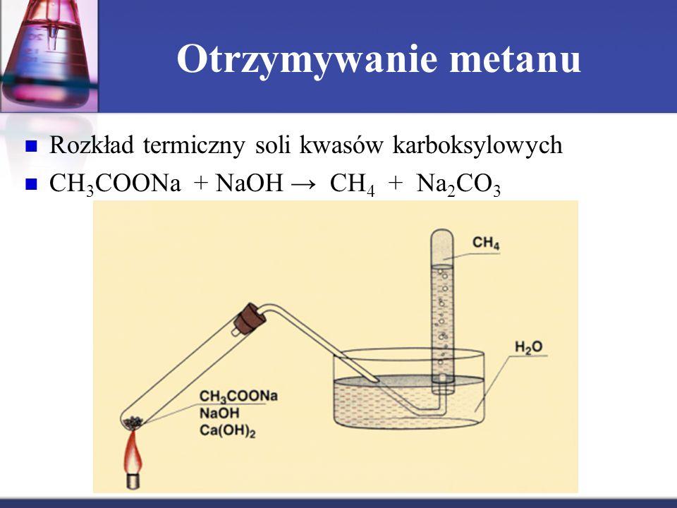 Otrzymywanie metanu Rozkład termiczny soli kwasów karboksylowych