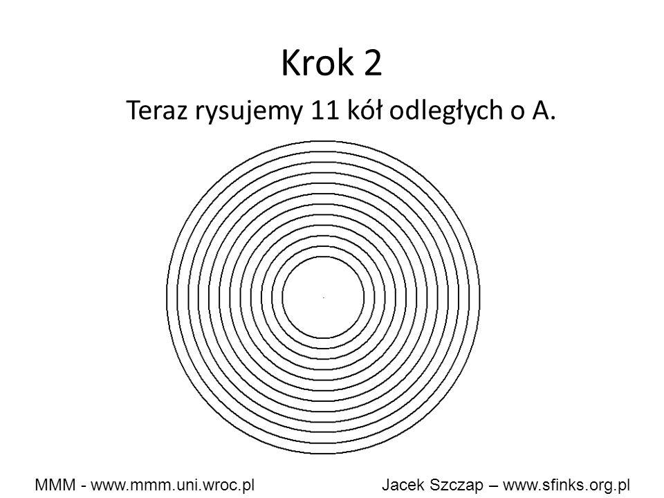 Krok 2 Teraz rysujemy 11 kół odległych o A.