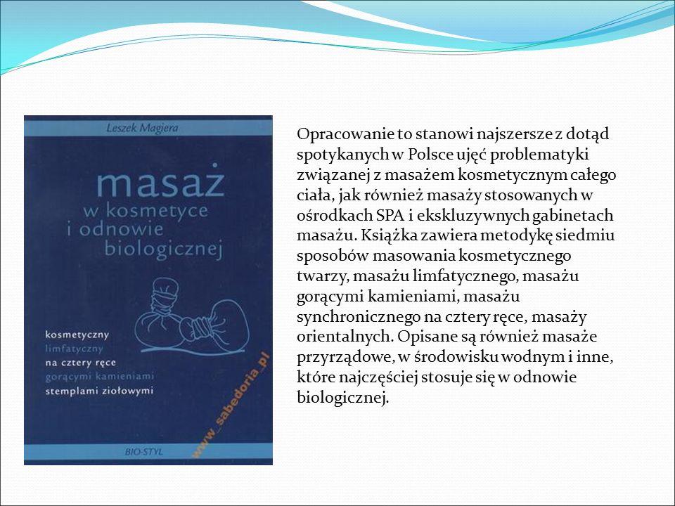 Opracowanie to stanowi najszersze z dotąd spotykanych w Polsce ujęć problematyki związanej z masażem kosmetycznym całego ciała, jak również masaży stosowanych w ośrodkach SPA i ekskluzywnych gabinetach masażu.