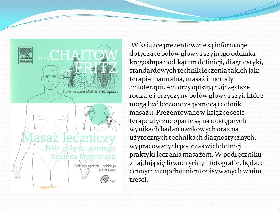 W książce prezentowane są informacje dotyczące bólów głowy i szyjnego odcinka kręgosłupa pod kątem definicji, diagnostyki, standardowych technik leczenia takich jak: terapia manualna, masaż i metody autoterapii.