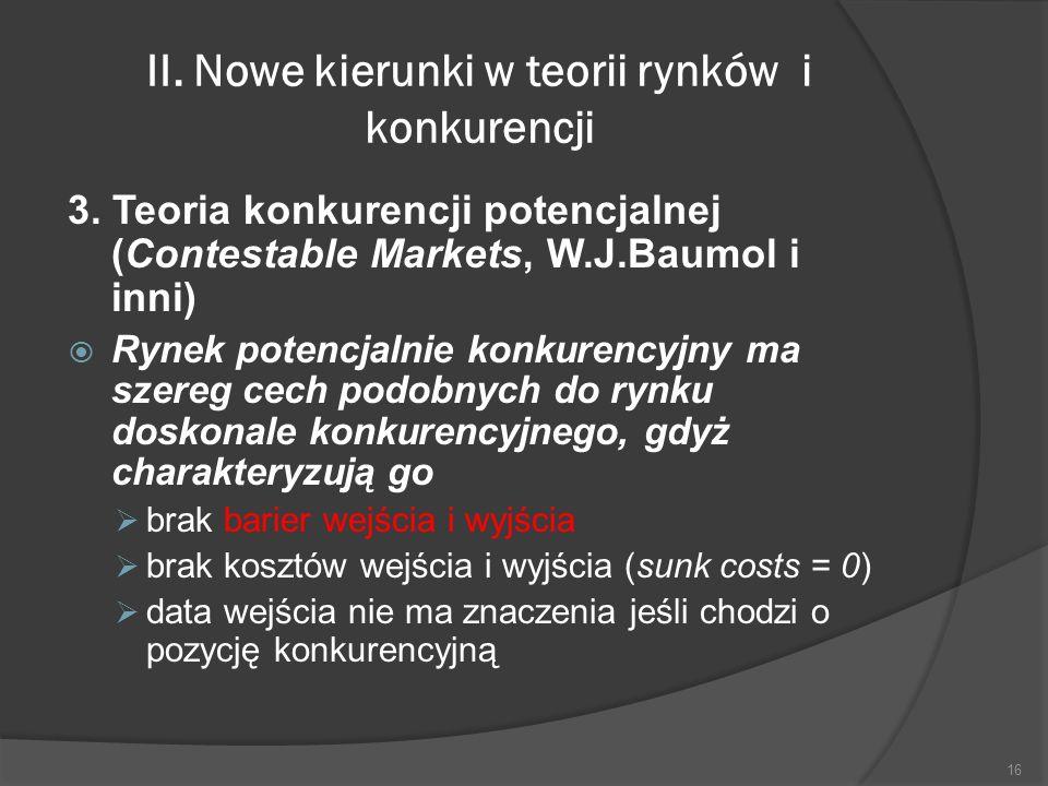 II. Nowe kierunki w teorii rynków i konkurencji