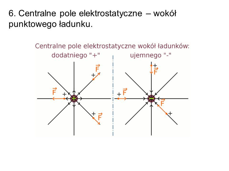 6. Centralne pole elektrostatyczne – wokół punktowego ładunku.