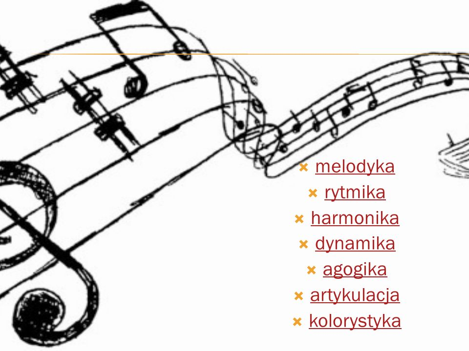melodyka rytmika harmonika dynamika agogika artykulacja kolorystyka