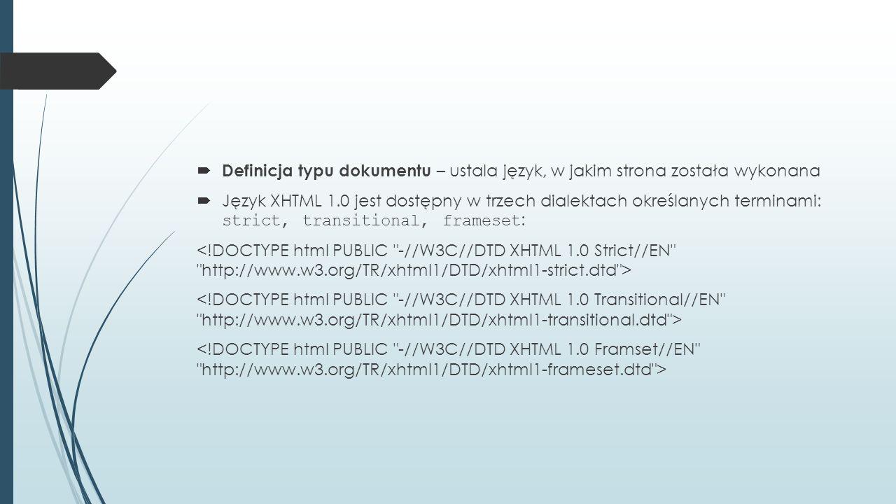 Definicja typu dokumentu – ustala język, w jakim strona została wykonana