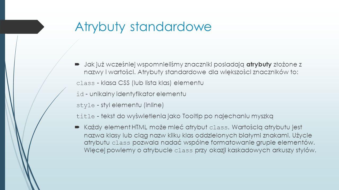 Atrybuty standardowe